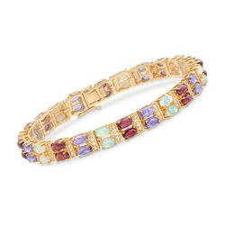 Opal and 11.00 ct. t.w. Multi-Stone Bracelet in 18kt Gold Over Sterling, , default