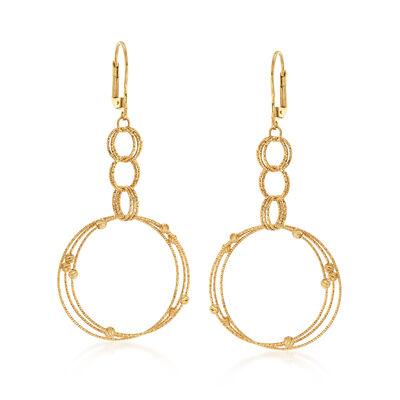 Italian 18kt Yellow Gold Multi-Circle Drop Earrings , , default