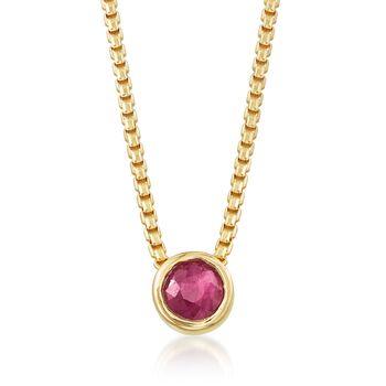 .50 Carat Bezel-Set Ruby Adjustable Necklace in 18kt Gold Over Sterling, , default
