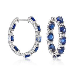 "6.25 ct. t.w. Sapphire and .29 ct. t.w. Diamond Inside-Outside Hoop Earrings in 18kt White Gold. 7/8"", , default"