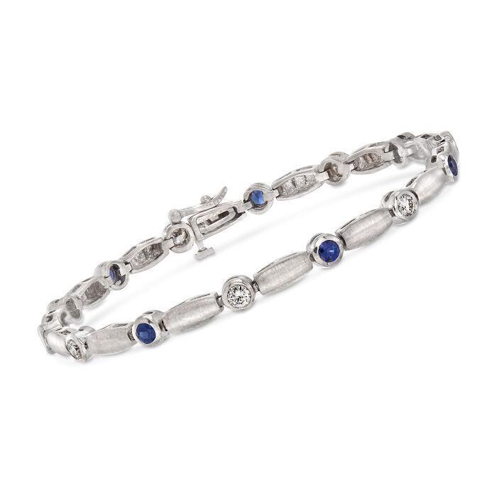 "C. 1990 Vintage 1.05 Sapphire and 1.00 ct. t.w. Diamond Bracelet in 14kt White Gold. 7"", , default"
