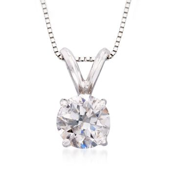 ".50 Carat Diamond Solitaire Necklace in 14kt White Gold. 18"", , default"