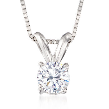""".33 Carat Diamond Solitaire Necklace in 14kt White Gold. 18"""", , default"""