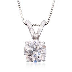 ".25 Carat Diamond Solitaire Pendant Necklace in 14kt White Gold. 18"", , default"