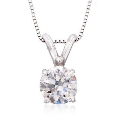 .25 Carat Diamond Solitaire Pendant Necklace in 14kt White Gold, , default