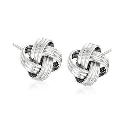 Italian Sterling Silver Love Knot Stud Earrings