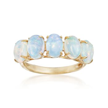 7x5mm Ethiopian Opal Five-Stone Ring in 14kt Yellow Gold, , default