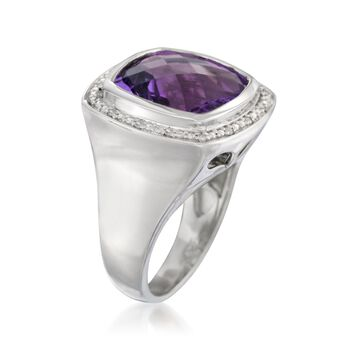 9.10 Carat Amethyst and Diamond Ring in Sterling Silver, , default