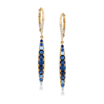 1.10 ct. t.w. Sapphire Drop Earrings with Diamond Accents in 14kt Yellow Gold, , default