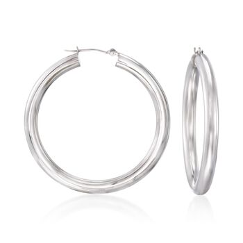 "4mm 14kt White Gold Hoop Earrings. 1 1/2"", , default"