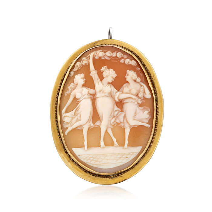 C. 1970 Vintage Pink Shell Cameo Pin/Pendant in 10kt Yellow Gold