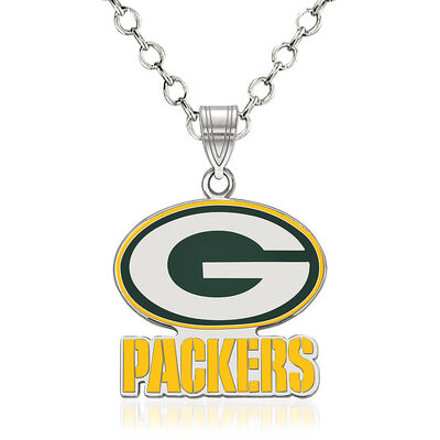 "Sterling Silver NFL Green Bay Packers Enamel Pendant Necklace. 18"", , default"