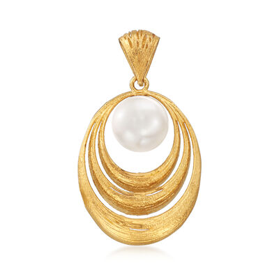 9.5-10mm Cultured Pearl Graduated Oval Pendant in 18kt Yellow Gold, , default