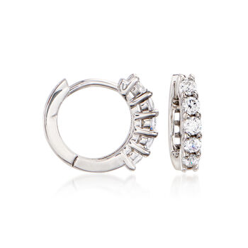 "1.20 ct. t.w. CZ Jewelry Set: Three Pairs of Huggie Hoop Earrings in Tri-Colored Sterling Silver. 3/8""-1/2"""