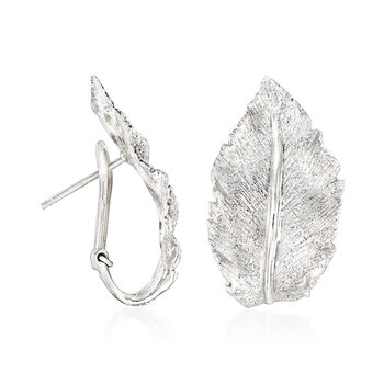 "Charles Garnier ""Constellation"" Sterling Silver Leaf J-Hoop Earrings. 5/8"""