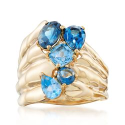2.80 ct. t.w. Tonal Blue Topaz Ring in 18kt Gold Over Sterling, , default