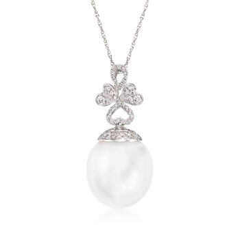 """14.5mm Cultured South Sea Pearl and .35 ct. t.w. Diamond Pendant Necklace in 18kt White Gold. 18"""", , default"""