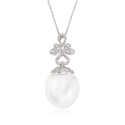 14.5mm Cultured South Sea Pearl and .35 ct. t.w. Diamond Pendant Necklace in 18kt White Gold, , default