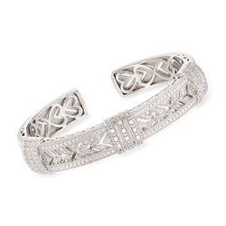 ".25 ct. t.w. Diamond Vintage-Style Cuff Bracelet in Sterling Silver. 7"", , default"