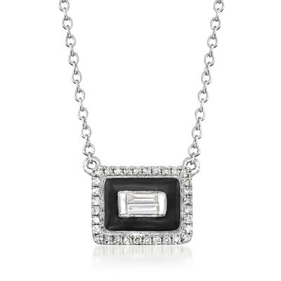 .15 ct. t.w. Diamond Rectangle Necklace with Black Enamel in 18kt White Gold