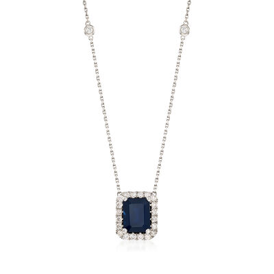 3.50 ct. t.w. Sapphire and .75 ct. t.w. Diamond Station Necklace in 14kt White Gold, , default