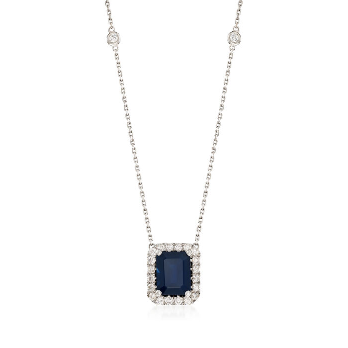 """3.50 ct. t.w. Sapphire and .75 ct. t.w. Diamond Station Necklace in 14kt White Gold. 18"""", , default"""