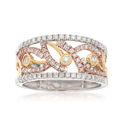 .60 ct. t.w. Diamond Open-Work Band in 14kt Tricolored Gold, , default