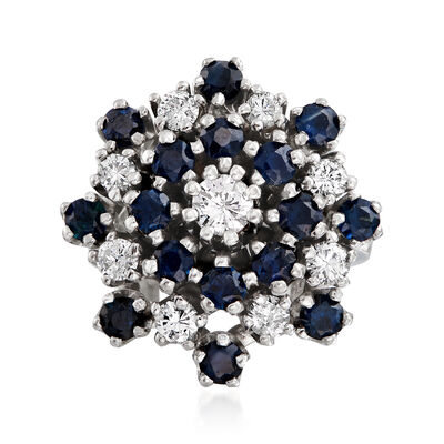 C. 1970 Vintage 1.60 ct. t.w. Sapphire and .90 ct. t.w. Diamond Cluster Ring in 14kt White Gold, , default