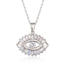 "1.25 ct. t.w. CZ Evil Eye Pendant Necklace in Sterling Silver. 18"", , default"