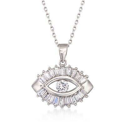 1.25 ct. t.w. CZ Evil Eye Pendant Necklace in Sterling Silver, , default