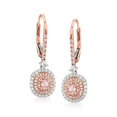 .74 ct. t.w. Pink and White Diamond Oval Drop Earrings in 18kt Two-Tone Gold, , default