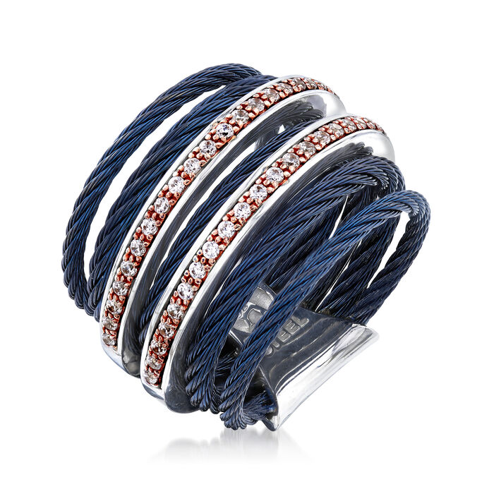 """ALOR 'Classique"""" .38 ct. t.w. Diamond Blue-Hued Stainless Steel Cable Ring with 18kt Rose Gold"""