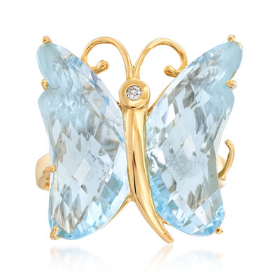 16.00 ct. t.w. Sky Blue Topaz Butterfly Ring in 18kt Gold Over Sterling, , default