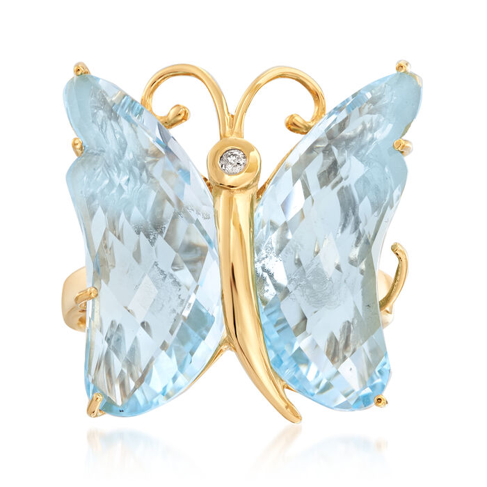 16.00 ct. t.w. Sky Blue Topaz Butterfly Ring in 18kt Gold Over Sterling