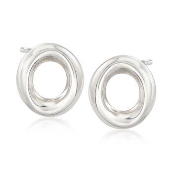 Italian X, O and Bead Jewelry Set: Stud Earrings in Sterling Silver. Std, , default