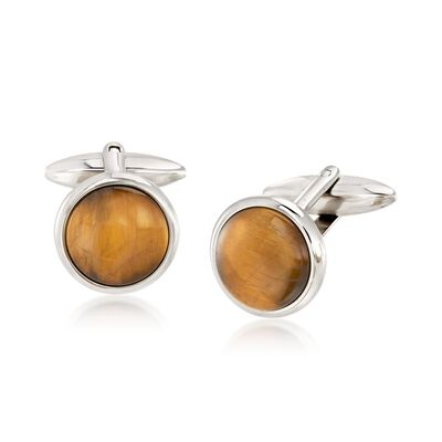 Men's Tiger's Eye Cuff Links in Stainless Steel, , default