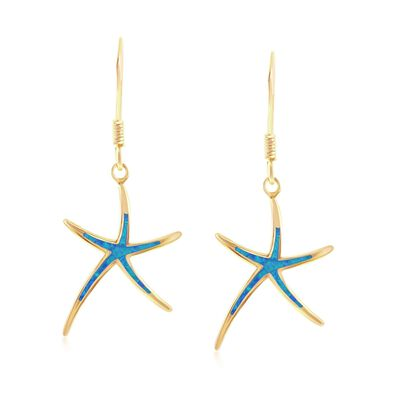Blue Synthetic Opal Starfish Drop Earrings in 18kt Gold Over Sterling, , default