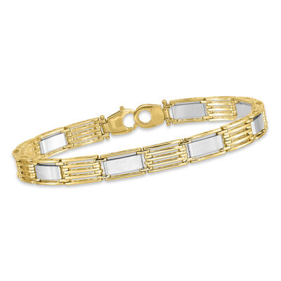 "Men's 14kt Two-Tone Polished Link Bracelet. 8.5"", , default"