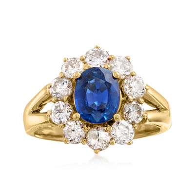 C. 1980 Vintage 1.24 Carat Sapphire and 1.14 ct. t.w. Diamond Ring in 18kt Yellow Gold