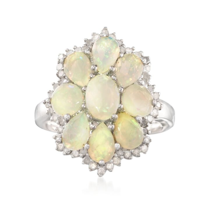 Opal and .65 ct. t.w. Diamond Floral Ring in Sterling Silver, , default