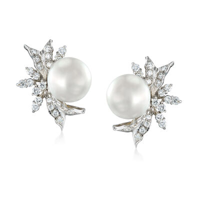 C. 1950 Vintage Cultured Pearl and 1.20 ct. t.w. Diamond Earrings in 10kt White Gold, , default