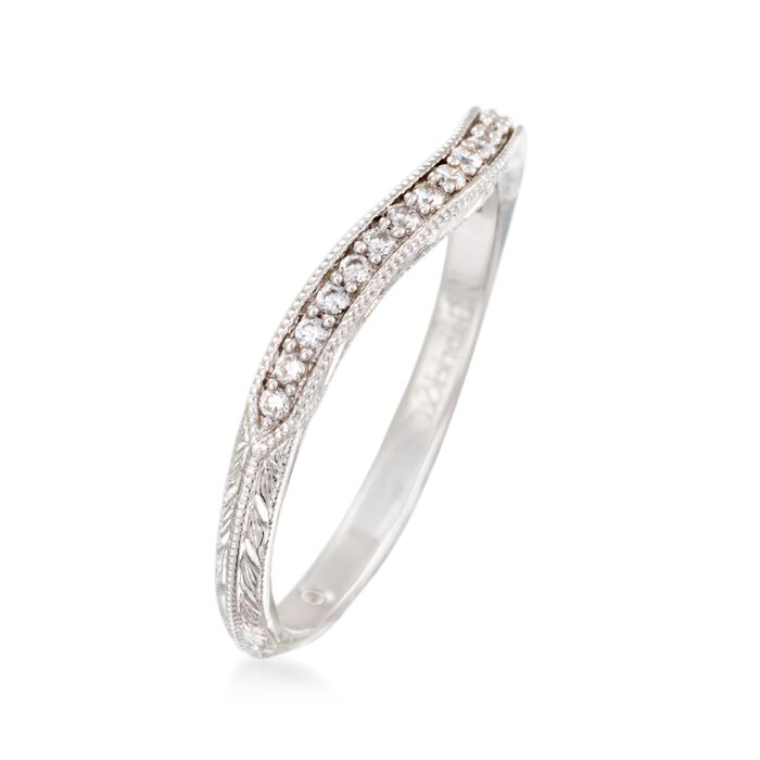 Gabriel Designs .10 ct. t.w. Diamond Curved Wedding Ring in 14kt White Gold