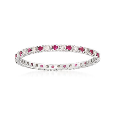 .20 ct. t.w. Ruby and .15 ct. t.w. Diamond Eternity Band in 14kt White Gold
