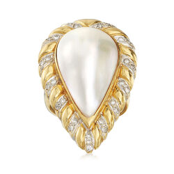 C. 1980 Vintage Mabe Pearl and .35 ct. t.w. Diamond Ring in 18kt Yellow Gold, , default