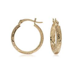 14kt Yellow Gold Diamond-Cut Hoop Earrings, , default