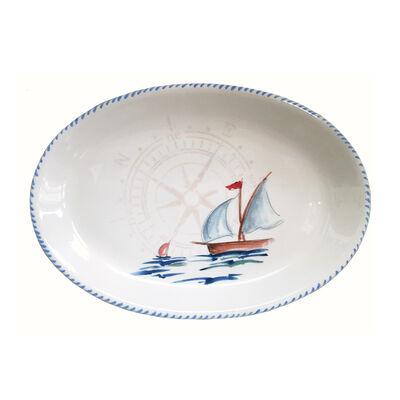 Abbiamo Tutto Italian Sailboat Ceramic Oval Serving Platter, , default