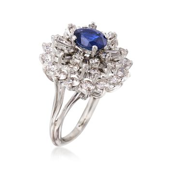 C. 1980 Vintage 1.28 Carat Sapphire and 2.40 ct. t.w. Diamond Cluster Ring in Platinum. Size 4.5, , default