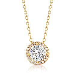 """1.30 ct. t.w. CZ Halo Pendant Necklace in 14kt Gold Over Sterling. 16.25"""", , default"""