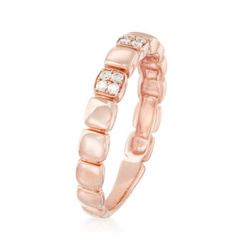 .10 ct. t.w. Diamond Square Station Ring in 14kt Rose Gold