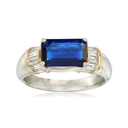 C. 2000 Vintage 1.87 Carat Sapphire and .58 ct. t.w. Diamond Ring in Platinum and 18kt Gold, , default